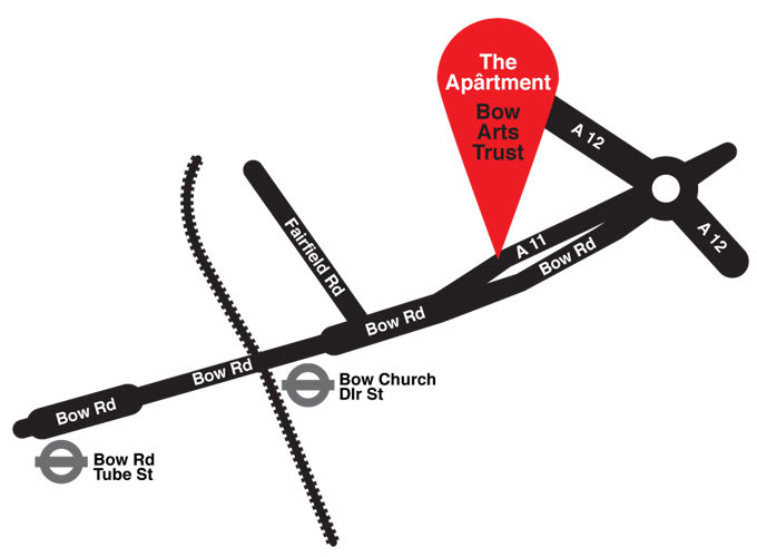 Map showing the entrance near opposite Bow Church.