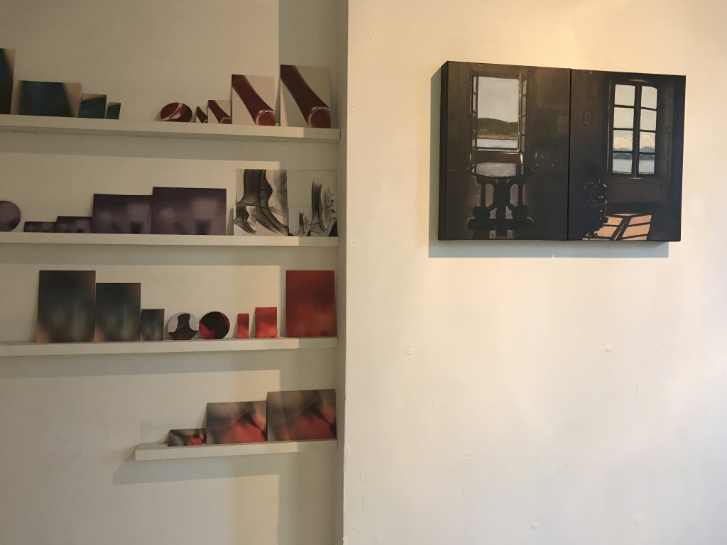 Painting by Lynn Carter and postcards by Graeme Balfour displayed at The Apartment 9